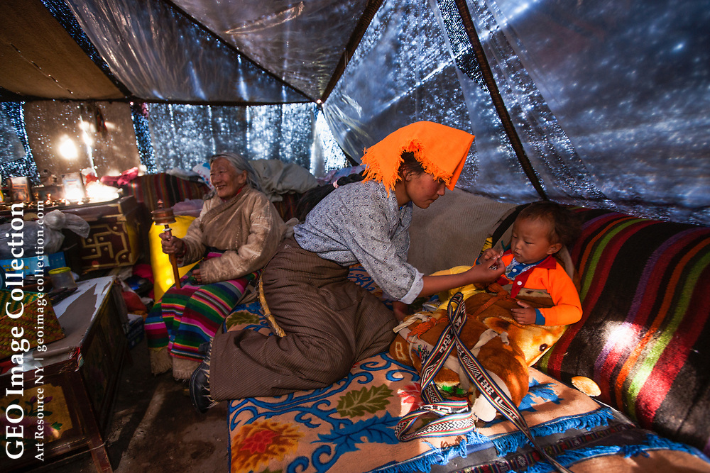 Nomad families spend the summer months living together in yak-hair tents, grazing their animals and searching for the valuable yartsa gombu (cordyceps) caterpillar fungus. Tibet