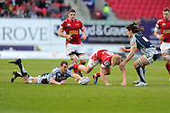Aled Davies of the Scarlets is tackled by Sam Warburton of the Cardiff Blues (on ground) and Josh Navidi (6) . Rabodirect Pro12 rugby, Scarlets v Cardiff Blues at the Parc y Scarlets in Llanelli, South Wales on Saturday 20th April 2013. pic by Andrew Orchard,  Andrew Orchard sports photography,