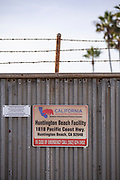CRC (California Resources Corporation) facility in Huntington Beach. CRC has filed for bankruptcy and there are questions as to who be responsible for old and abandoned wells. Orange Conty, California, USA