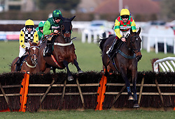 Acey Milan ridden by jockey Aidan Coleman (right) on the way to winning the Happy Birthday Kim Shaw Novices' Hurdle during the Injured Jockeys Fund Charity Raceday at Plumpton Racecourse.