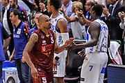 DESCRIZIONE : Campionato 2014/15 Dinamo Banco di Sardegna Sassari - Umana Reyer Venezia<br /> GIOCATORE : Phil Goss Rakim Sanders<br /> CATEGORIA : Fair Play Postgame<br /> SQUADRA : Dinamo Banco di Sardegna Sassari<br /> EVENTO : LegaBasket Serie A Beko 2014/2015<br /> GARA : Dinamo Banco di Sardegna Sassari - Umana Reyer Venezia<br /> DATA : 03/05/2015<br /> SPORT : Pallacanestro <br /> AUTORE : Agenzia Ciamillo-Castoria/L.Canu