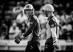 Jeremy Lawlor of Glamorgan with team-mate David Lloyd<br /> <br /> Photographer Simon King/Replay Images<br /> <br /> Vitality Blast T20 - Round 1 - Glamorgan v Somerset - Thursday 18th July 2019 - Sophia Gardens - Cardiff<br /> <br /> World Copyright © Replay Images . All rights reserved. info@replayimages.co.uk - http://replayimages.co.uk