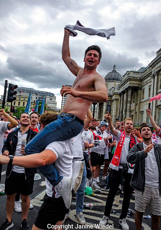 English Football fans in central London before the finals of football match against Italy.  England v Italy Euro 2020 final. 11 July 2021