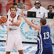Turkey's Semih Erden (L) and Finland's during their Adidas Istanbul Cup 2012 Final basketball match Turkey between Finland at the Abdi ipekci Arena in Istanbul Turkey on Thursday 02 August 2012. Photo by TURKPIX