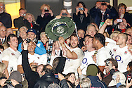 Picture by Andrew Tobin/SLIK images +44 7710 761829. 2nd December 2012. Chris Robshaw lifts the Hilary Shield after the QBE Internationals match between England and the New Zealand All Blacks at Twickenham Stadium, London, England. England won the game 38-21.