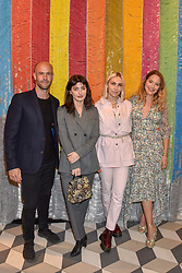 Cameron Saul, Sydney Lima, Becky Tong and Tess Ward at a cocktail supper hosted by BOTTLETOP co-founders Cameron Saul & Oliver Wayman, along with Arizona Muse, Richard Curtis & Livia Firth to launch the #TOGETHERBAND campaign at The Quadrant Arcade on April 24, 2019 in London, England.<br /> <br /> ***For fees please contact us prior to publication***