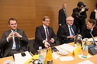 21 JAN 2013, BERLIN/GERMANY:<br /> Daniel Bahr, FDP, Bundesgesundheitsminister, Guido Westerwelle, FDP, Bundesaussenminister, Rainer Bruederle, FDP Fraktionsvorsitzender und Otto Fricke, FDP, Parl. Geschaftsfuehrer der Bundestagsfraktion, (v.L.n.R.), vor Beginn der Sitzung des FDP Bundesvorstandes nach den Landtagswahlen in Niedersachsen, Thomas-Dehler-Haus<br /> IMAGE: 20130121-01-011<br /> KEYWORDS: Philipp Rösler, Patrik Döring