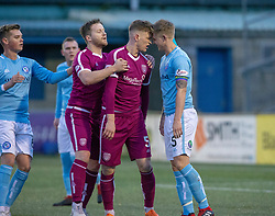 Arbroath's Thomas O'Brien and Forfar Athletic's Michael Travis react after anArbroath's corner. half time : Forfar Athletic 0 v 1 Arbroath, Scottish Football League Division One played 8/12/2018 at Forfar Athletic's home ground, Station Park, Forfar.