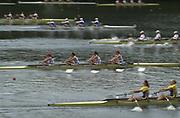 © Intersport Images <br /> email info@Intersport-images.com<br /> [Mandatory Credit;Peter Spurrier/Intersport Images]<br /> <br /> Photo Peter Spurrier<br /> Junior World Rowing Championships 2001<br /> 7  - 11th August 2001<br /> Regattabahn Duisburg -Wedau.<br /> <br /> GBR junior women's quad (caught on a slow shutter), at the strt of their repecharge. 20010808 FISA Junior World Rowing Championships, Duisburg. Germany