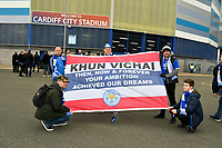 Football - 2018 / 2019 Premier League - Cardiff City vs. Leicester City<br /> <br /> Fans with tribute flag in Leicster's 1st match since the death of Vichai Srivaddhanaprabha, at Cardiff City Stadium.<br /> <br /> COLORSPORT/WINSTON BYNORTH