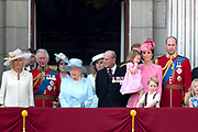 Trooping the Colour is a ceremony performed by regiments of the British and Commonwealth armies and as also marked the official birthday of the British sovereign, Queen Elizabeth.It is held in London annually on a Saturday in June on Horse Guards Parade by St. James's Park<br /> <br /> On the photo:  Queen Elizabeth II and Prince Philip, Duke of Edinburgh<br /> Prince William, Catherine, Kate, Duchess of Cambridge and Prince George and Princess Charlotte , Prince Harry<br /> Prince Charles, Prince of Wales and Prince Harry Camilla, Duchess of Cornwall and Catherine, Kate, Duchess of Cambridge , Princess and Eugenie and Princess Beatrice  Queen Elizabeth II and Prince Philip, Duke of Edinburgh<br /> Prince William, Catherine, Kate, Duchess of Cambridge and Prince George and Princess Charlotte , Prince Harry<br /> Prince Charles, Prince of Wales and Prince Harry