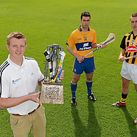 12 September 2012; Bord Gáis Energy Ambassadors Conor McGrath, of Clare, centre, and Cillian Buckley, of Kilkenny, right, with Bord Gáis Energy Ambassadors and Breaking Through Player of the Year Judge Joe Canning, Galway, were in Thurles today ahead of Saturday's Bord Gáis Energy GAA Hurling U-21 All-Ireland Final which will be played in Semple Stadium, Thurles. Clare play Kilkenny at 7pm in a repeat of the 2009 Final. The game is preceded by Roscommon against Kildare in the 'B' Final, which throws in at 5pm. Both games will be live on TG4. Semple Stadium, Thurles, Co. Tipperary. Picture credit: Matt Browne / SPORTSFILE *** NO REPRODUCTION FEE ***