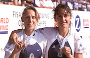 St Catherines, CANADA, Women's Lightweight Double, USA LW2X left, Christine COLLINS and Sarah GARNER. Medal Dock, .[Mandatory Credit; Peter Spurrier/Intersport Images]..2246-56 1999 FISA. World Rowing Championships, St Catherines, CANADA