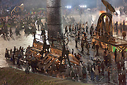 Textile Looms and Steam engines depicting the Industrial Revolution at the technical rehearsal of the openings ceremony of the Olympic Games in London.
