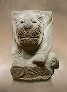 Alaca Hoyuk - Hittite lion sculpture corner Stone . Andesite. Alacahoyuk, 1399 - 1301 B.C. Anatolian Civilisations Museum, Ankara, Turkey.<br /> <br /> Corner stone with sculpted lion, bull and winged sun disk. It was discovered at the right side of the Alacahoyuk sphinx door. The lion puts his front legs on a small bull. There is a Hittite winged sun disk on the abdomen of the lion, which can be seen from a lower location. The position of the sun course indicates that the stone is situated in a high place.