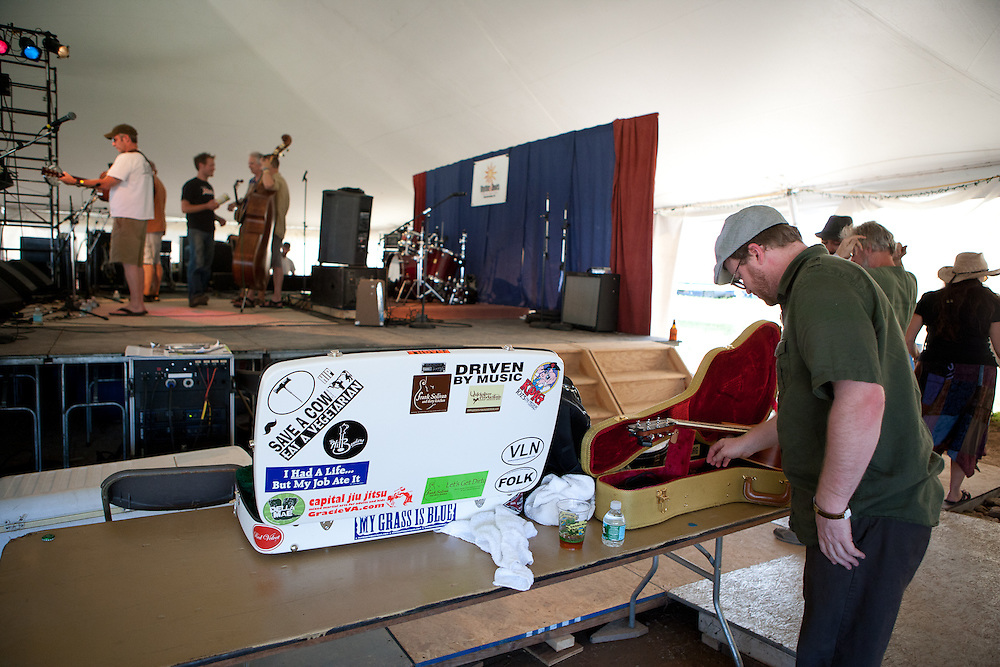 The Hllbenders, Dirty Kitchen and Friends getting ready backstage.