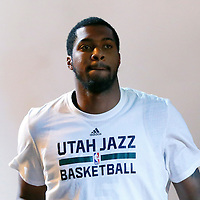 09 December 2015:  Utah Jazz forward Derrick Favors (15) is seen during the players introduction prior to the Utah Jazz 106-85 victory over the New York Knicks, at the Vivint Smart Home Arena, Salt Lake City, Utah, USA.