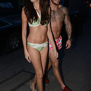 MTV Show Ex on the Beach model walking down Camden Nanno wearing a swimwear and down the high street in London. Photo by See Li