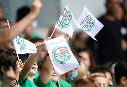 Young London Irish fans show their support prior to the Gallagher Premiership match at the Brentford Community Stadium, London. Picture date: Sunday September 26, 2021.