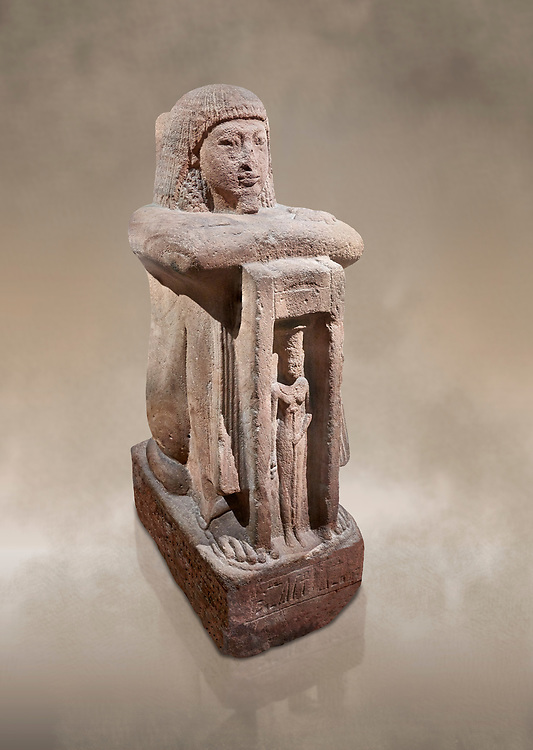 """Ancient Egyptian statue of Qen, priest of Anukis, sanstone, New Kingdom, 19th Dynasty, (1292-1191 BC), Isalnd of sehel. Egyptian Museum, Turin. <br /> <br /> Qen was a """"gods father of Amon of Elephantine and of Khnum, Satis and Anukis"""". Elephantine is a Greek name of the present day Aswan. The naos, shrine, contains a female wearing a high plumed headdress. She is Anukis goddess of the Nile flood. With the ram-heahed god Khum and the goddess Satis, she formed the triad of the Elephantine. The statue probably comes from the temple of the Triad on Sehel Island just south of Elephantine.. Drovetti collection. Cat 3016. .<br /> <br /> If you prefer to buy from our ALAMY PHOTO LIBRARY  Collection visit : https://www.alamy.com/portfolio/paul-williams-funkystock/ancient-egyptian-art-artefacts.html  . Type -   Turin   - into the LOWER SEARCH WITHIN GALLERY box. Refine search by adding background colour, subject etc<br /> <br /> Visit our ANCIENT WORLD PHOTO COLLECTIONS for more photos to download or buy as wall art prints https://funkystock.photoshelter.com/gallery-collection/Ancient-World-Art-Antiquities-Historic-Sites-Pictures-Images-of/C00006u26yqSkDOM"""