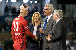 May 5, 2018 - Newcastle, NSW, U.S. - SYDNEY, NSW - MAY 05: Joe Marston medal winner Melbourne Victory goalkeeper Lawrence Thomas (20) accepts his medal from chief executive officer of FFA David Gallop at the A-League Grand Final Soccer Match between Newcastle Jets and Melbourne Victory on May 5, 2018 at McDonald Jones Stadium in Newcastle, Australia. (Photo by Speed Media/Icon Sportswire) (Credit Image: © Speed Media/Icon SMI via ZUMA Press)