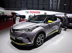 Toyota C-HR, hybrid electric SUV at 87th Geneva International Motor Show in Geneva Switzerland 2017