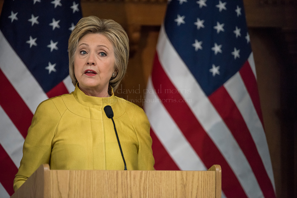 """Hillary Clinton, former Secretary of State and 2016 Democratic presidential candidate, speaks during an event at Stanford University in Stanford, California, U.S., on Wednesday, March 23, 2016. In the wake of a series of deadly terrorist attacks in Brussels on Tuesday, the U.S. presidential front-runners clashed over interrogation techniques and whether to stop foreign Muslims from entering the country. """"Our country's most experienced and bravest military leaders will tell you that torture is not effective,"""" said Clinton. Photograph by David Paul Morris"""