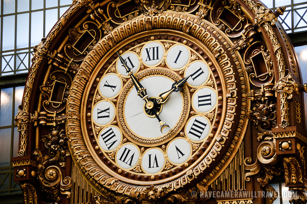 Ornate clock in the main hall of the Musée d'Orsay