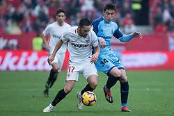 December 16, 2018 - Seville, Andalucia, Spain - Pablo Sarabia of Sevilla Fc and Valery of Girona competes for the ball during the LaLiga match between Sevilla FC and Girona at Estadio Ramón Sánchez Pizjuán on December 16, 2018 in Seville, Spain  (Credit Image: © Javier MontañO/Pacific Press via ZUMA Wire)
