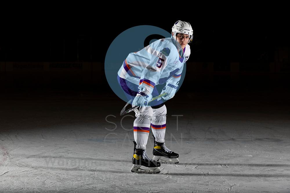 Youngstown Phantoms player photo shoot on April 14, 2021. <br /> <br /> Bayard Hall, defenseman, 5