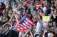 US Eagles fans celebrate a try during the Rugby World Cup 2015 match between Samoa and USA at the Brighton Community Stadium, Falmer, United Kingdom on 20 September 2015.