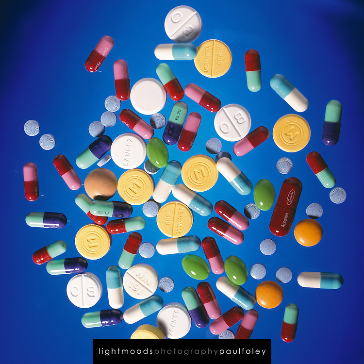 Pills on clear background