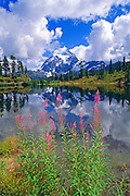 Clearing storm over Mount Shuksan from Picture Lake, North Cascades National Park, Washington USA