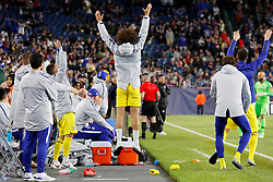 May 15, 2019 - Foxborough, MA, U.S. - FOXBOROUGH, MA - MAY 15: Chelsea FC defender David Luiz (30) cheers as Chelsea FC goalkeeper Robert Green (31) enters the game during the Final Whistle on Hate match between the New England Revolution and Chelsea Football Club on May 15, 2019, at Gillette Stadium in Foxborough, Massachusetts. (Photo by Fred Kfoury III/Icon Sportswire) (Credit Image: © Fred Kfoury Iii/Icon SMI via ZUMA Press)