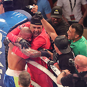 HOLLYWOOD, FL - JUNE 27: Thiago Alves celebrates with coach Derek Santos after defeating Ulysses Diaz during the Bare Knuckle Fighting Championships at the Seminole Hard Rock & Casino on June 27, 2021 in Hollywood, Florida. (Photo by Alex Menendez/Getty Images) *** Local Caption *** Thiago Alves; Ulysses Diaz; Derek Santos