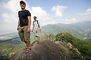 Hiking one of the razorback ridges on Wuliao Jian Hiking Trail, near Sanxia.