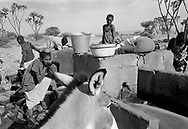 MALI. Hombori. 24/12/1985. Village well with separate throughs for the cattle, thus reducing the pollution risk.