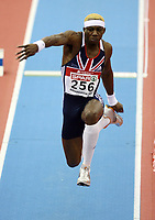 Photo: Rich Eaton.<br /> <br /> EAA European Athletics Indoor Championships, Birmingham 2007. 03/03/2007. Phillips Idowu of Great Britain wins the gold medal in the triple jump with this jump