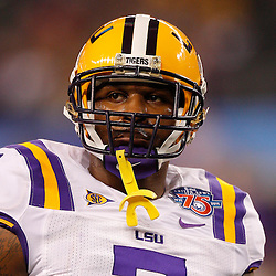 Jan 7, 2011; Arlington, TX, USA; LSU Tigers cornerback Patrick Peterson (7) on the field during warm ups prior to kickoff against the Texas A&M Aggies in the 2011 Cotton Bowl at Cowboys Stadium.  Mandatory Credit: Derick E. Hingle