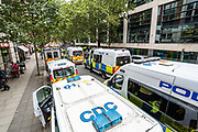 Police form a line outside Department for Transport after members of Extinction Rebellion activists group pelted red colour in protest of HS2 construction. XR is protesting the construction of HS2 outside the Department for Transport in Horseferry Road in central London on Friday, Sept 4, 2020. There are other Extinction Rebellion protests ongoing in London. Police closed Horseferry Road both ways and are working to open it. Environmental nonviolent activists group Extinction Rebellion enters its 4th day of continuous ten days protests to disrupt political institutions throughout peaceful actions swarming central London into a standoff, demanding that central government obeys and delivers Climate Emergency bill. (VXP Photo/ Vudi Xhymshiti) Great Minster House, outside Department for Transport after members of Extinction Rebellion activists group pelted red colour in protest of HS2 construction. XR is protesting the construction of HS2 outside the Department for Transport in Horseferry Road in central London on Friday, Sept 4, 2020. There are other Extinction Rebellion protests ongoing in London. Police closed Horseferry Road both ways and are working to open it. Environmental nonviolent activists group Extinction Rebellion enters its 4th day of continuous ten days protests to disrupt political institutions throughout peaceful actions swarming central London into a standoff, demanding that central government obeys and delivers Climate Emergency bill. (VXP Photo/ Vudi Xhymshiti)