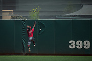 Arizona Diamondbacks center fielder Gregor Blanco (5) misses a fly ball at the warning track against the San Francisco Giants at AT&T Park in San Francisco, California, on August 6, 2017. (Stan Olszewski/Special to S.F. Examiner)