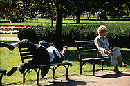 A sample photograph of a person relaxing in Lafayette Park while another person enjoys another park bench.  ..Photograph by Dennis Brack bb24