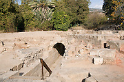 The Palace of Agrippa II from the first century CE, Remains of the main entrance. Photographed at the Hermon Stream Nature reserve and Archaeological Park (Banias) Golan Heights Israel