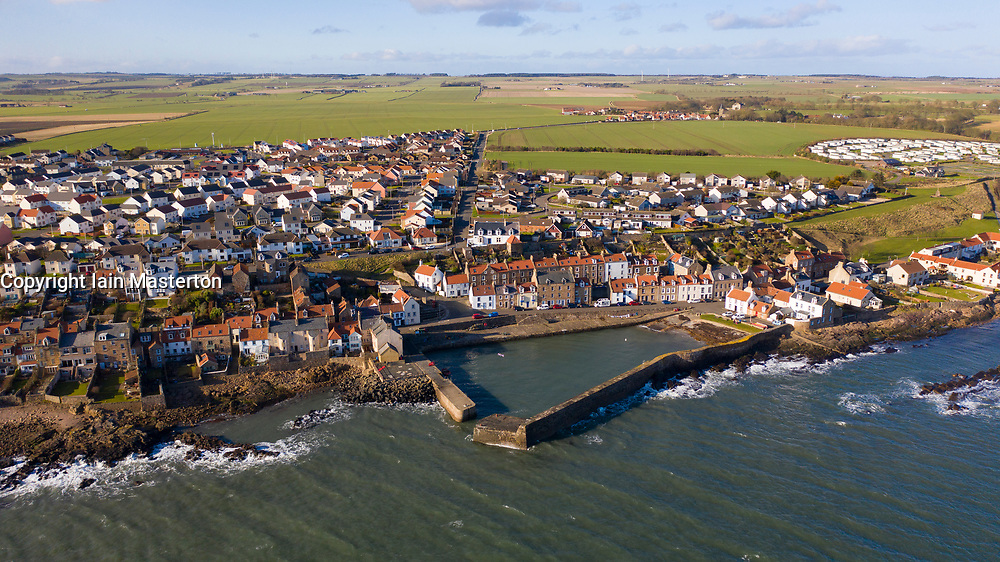 Aerial view of historic village and harbour of Cellardyke  in East Neuk of Fife, Scotland UK