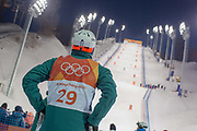 An Australian freestyle mogul skier at Phoenix Snow Park on day 2 of the Pyeongchang 2018 Winter Olympics during the Freestyle Skiing Mogul Practice on 05th February in South Korea.