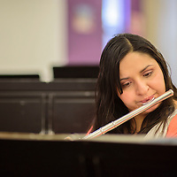 042015  Adron Gardner/Independent<br /> <br /> Flautist Felicia Sanchez plays along with the Gallup Music Teacher's Ensemble during practice at Gallup Middle School Monday.