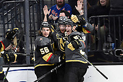 LAS VEGAS, NV - JANUARY 7: (L-R) Erik Haula #56, James Neal #18, and David Perron #57 of the Vegas Golden Knights celebrate after scoring a goal against the New York Rangers during the game at T-Mobile Arena on January 7, 2018 in Las Vegas, Nevada. (Photo by Jeff Bottari/NHLI via Getty Images) *** Local Caption *** Erik Haula;James Neal;David Perron