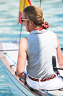 Princess Elena on board of Titia during the 37th Copa Del Rey Mapfre Sailing Cup on August 2, 2018 in Palma, Spain