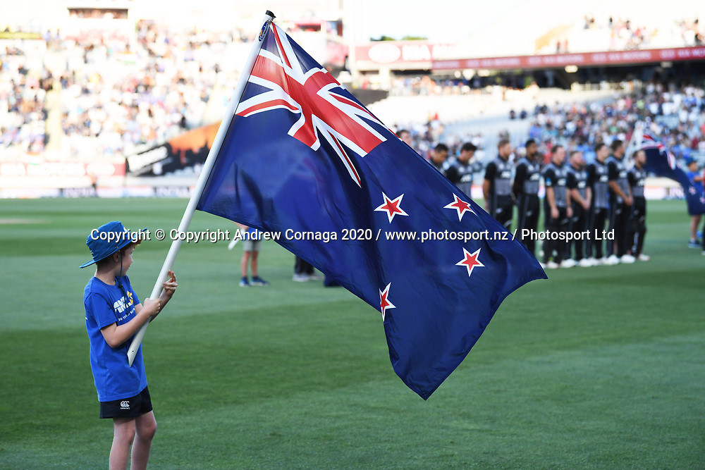 NZ flag bearer. New Zealand Black Caps v India. Twenty20 Cricket, Eden Park, Auckland, New Zealand. Friday 24 January 2020. © Copyright Photo: Andrew Cornaga / www.photosport.nz