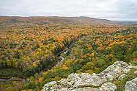 This is the kind of view that you can stare at all day. The Big Carp River flows through a colorful forest valley in Porcupine Mountains Wilderness State Park.<br /> <br /> Date Taken: 9/30/14